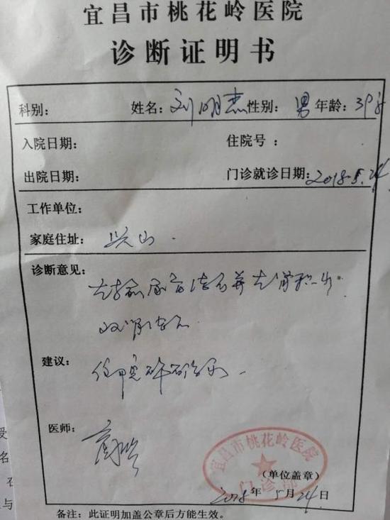 刘明杰被诊断为急性输尿管、肾结石及肾积水。受访者供图