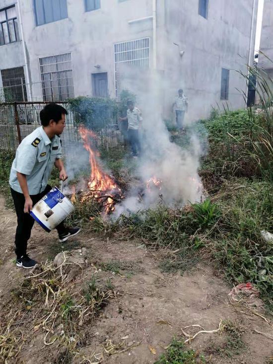 黄陂城管三里中队连续处理多起焚烧垃圾等行为