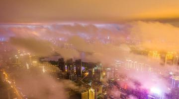 暴雨过后 武汉云雾缭绕宛如仙境