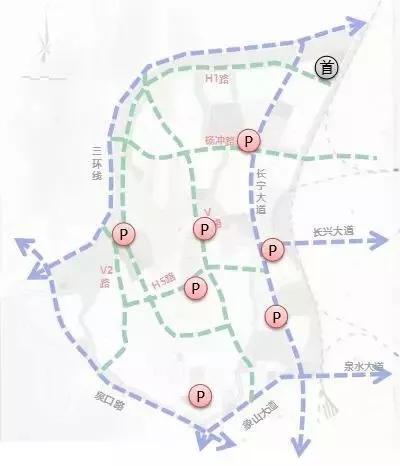 """绿地及景观:形成""""一心两廊,两轴多点""""的景观体系。"""