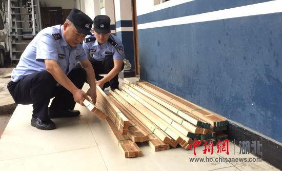 图为汉西车站派出所民警正在清点被盗窃的方木木料 郑建清 摄
