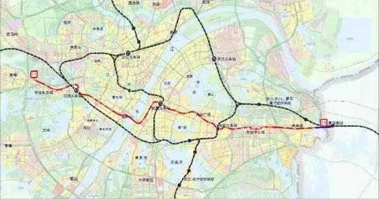 图为:轨道交通11号线(红色线条为东段一、二期,蓝色线条为葛店段)