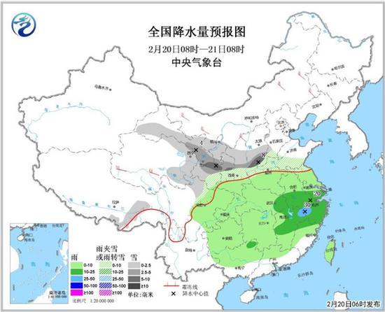 图1 全国降水量预报图(2月20日08时-21日08时)