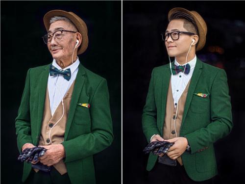 爷孙俩换上相同的服装,摆出同样的动作。看,爷爷重返30岁。