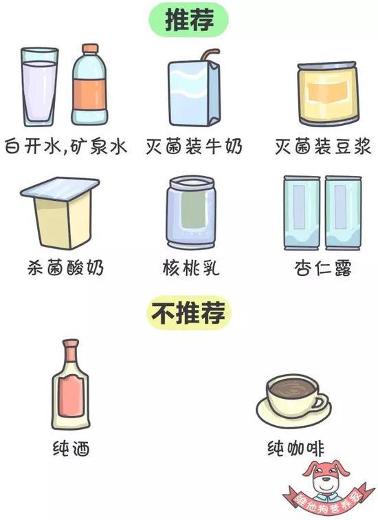 注:纯酒、纯咖啡有刺激性不利于休息,所以不推荐。