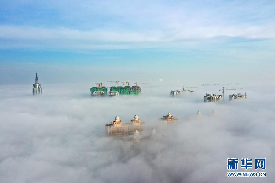 河北邢台现平流雾景观