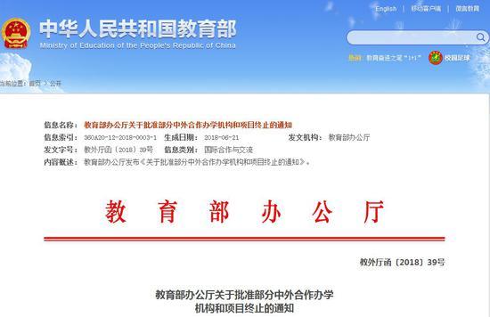 中外合作办学机构终止办学名单