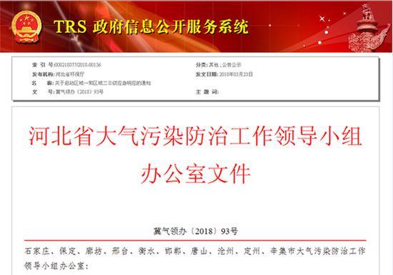 河北省环保厅网站相关信息截图