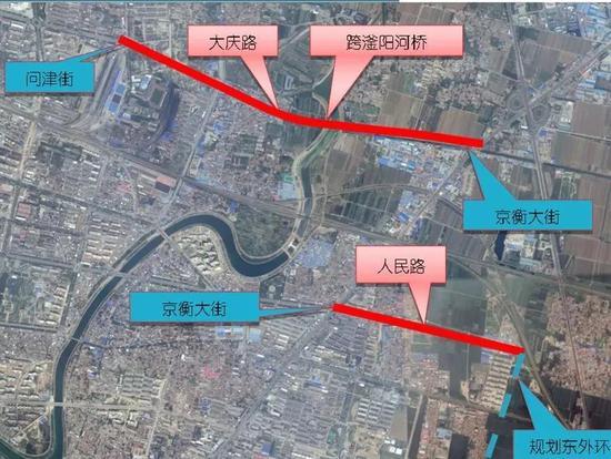 △大庆路跨滏阳河桥建设位置示意图