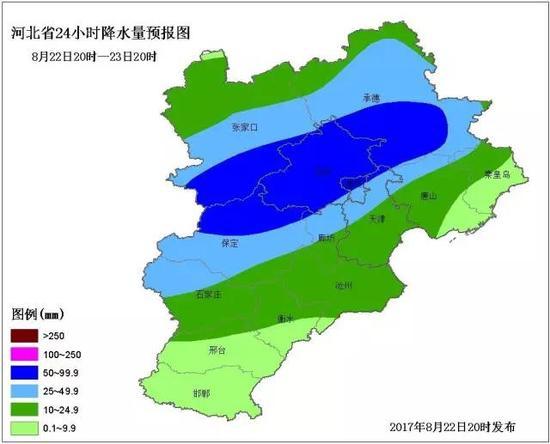 石家庄、沧州及以北有中到大雨