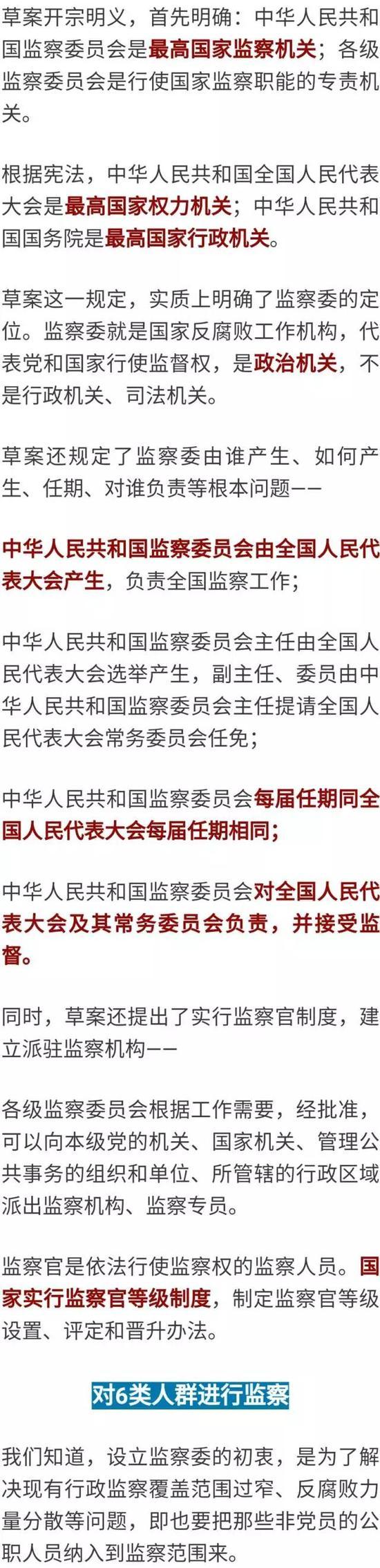 根据草案,监察机关将对6大类公职人员进行监察:
