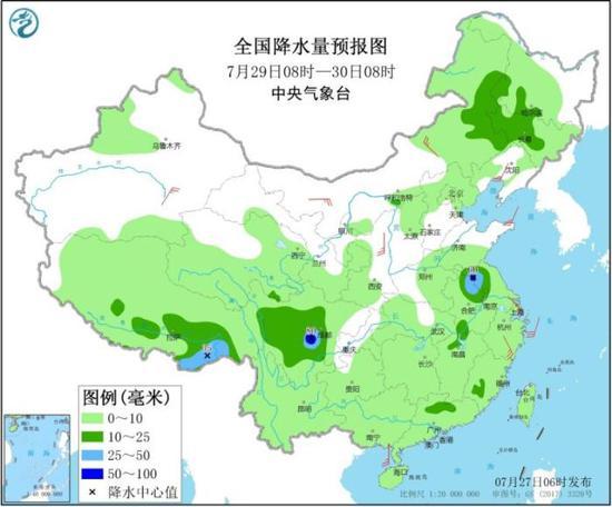 图4 全国降水量预报图(7月29日08时-30日08时)