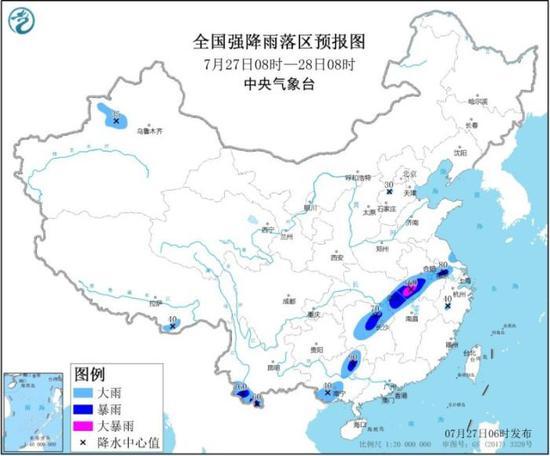图1 7月27日08时-28日08时全国强降水落区预报图