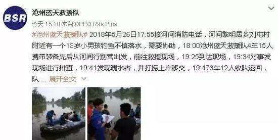 2018年5月26日,河间黎明居乡刘屯村附近有一个13岁小男孩钓鱼不慎落水。