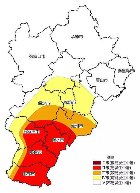 2018年6月6日河北省中暑气象风险等级预报
