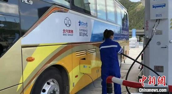 河北崇礼西湾子加氢站的工作人员为氢能源公交车加氢。裴国荣 摄