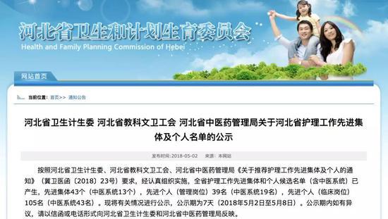 河北省护理工作先进集体名单