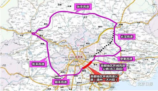 首都地区环线高速示意图