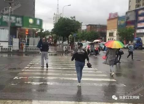 在新华街路口, 个别行人闯红灯通行。