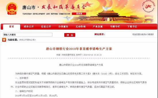 唐山市发展和改革委员会网站截图。资料图