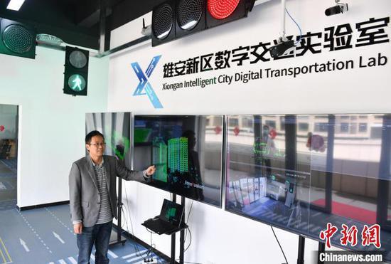 雄安数字交通实验室助力雄安智慧城市建设,目前已吸引30余家知名智能化设备制造商落户科技园。 韩冰 摄