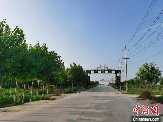 进入埝城村的乡道同样宽阔平整。 刘秋菊 摄