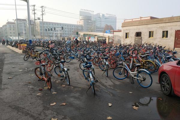 石家庄街头共享单车随意停放