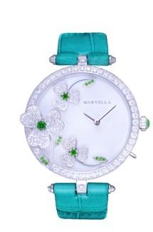 L'été系列钻石女装腕表配绿色鳄鱼真皮表带
