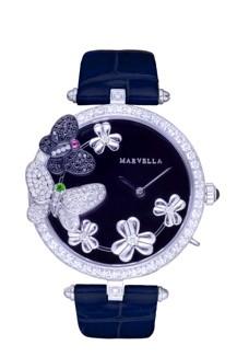 L'hiver系列钻石女装腕表配墨绿色鳄鱼真皮表带