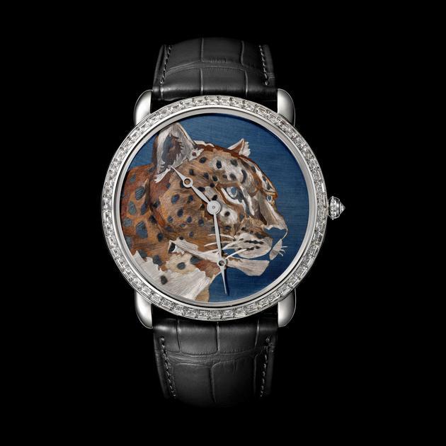 Ronde Louis Cartier焰金工艺猎豹装饰腕表