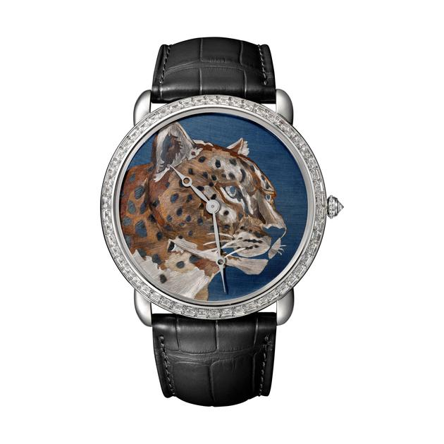 Ronde Louis Cartier焰金工艺猎豹装饰腕表,超大号表款