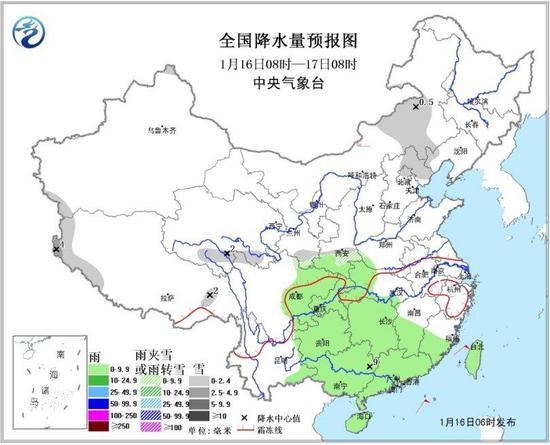 全国降水量预报图(1月16日08时-17日08时)