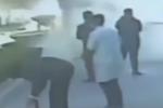 SUV路边燃起熊熊大火 5名公交司机下车救火