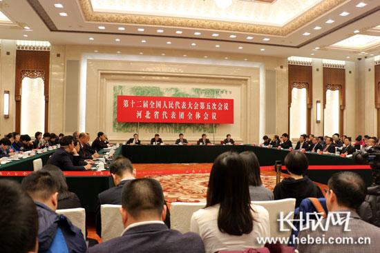 十二届全国人大五次会议河北代表团团组开放日现场。