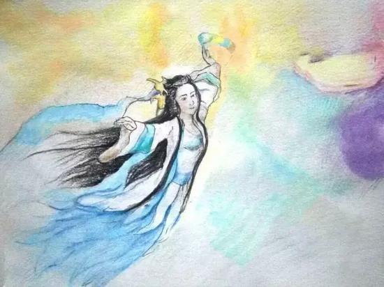 美丽的神话故事——女娲补天。 新华网原创手绘