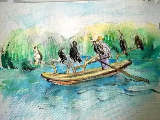 白洋淀是荷花的天堂,渔船的故乡。 新华网原创手绘