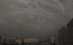 下午,厚厚的乌云将省城笼罩,紧接着就是疾风骤雨,电闪雷鸣。本报首席记者 李青 摄