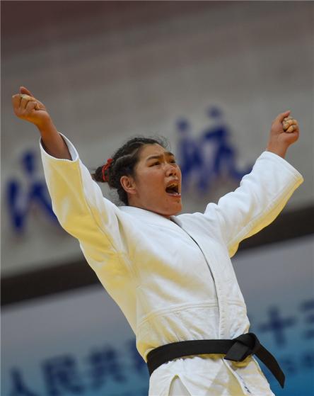 图为李扬庆祝夺冠。新华社发