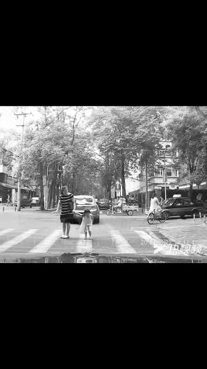 """■女孩鞠躬致谢""""车让人""""。(视频截图)"""