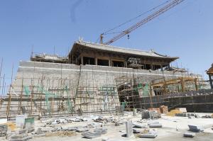 正在重建中的阳和楼。