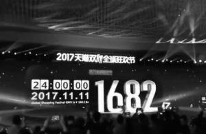 天猫平台双11全天成交额达到了1682亿元。