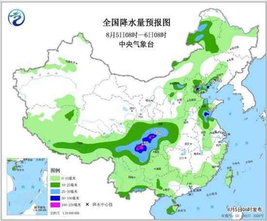 图2 全国降水量预报图(8月5日08时-6日08时)
