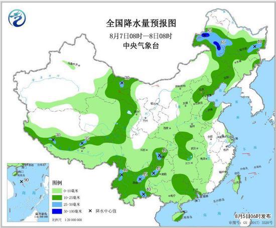 图4 全国降水量预报图(8月7日08时-8日08时)