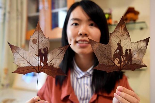 90后女孩自学叶雕技艺 方寸叶片上勾勒大千世界
