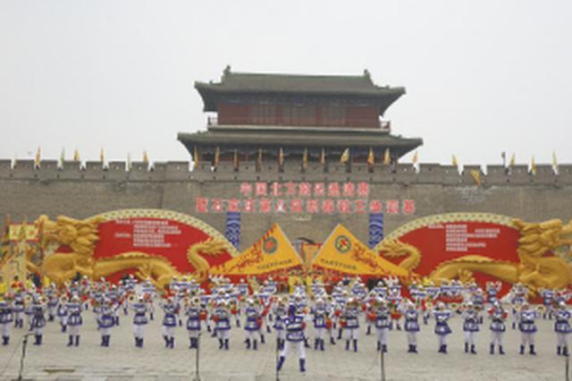 石家庄第八届新春鼓王争霸赛在正定瓮城举行
