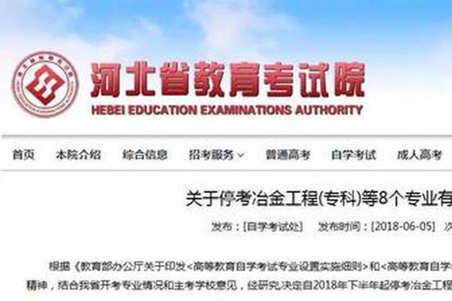 河北省教育考试院最新通知 这8个自考专业停考