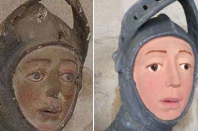 """西班牙美术老师修文物 500年前雕塑被""""修复""""成卡通人物"""