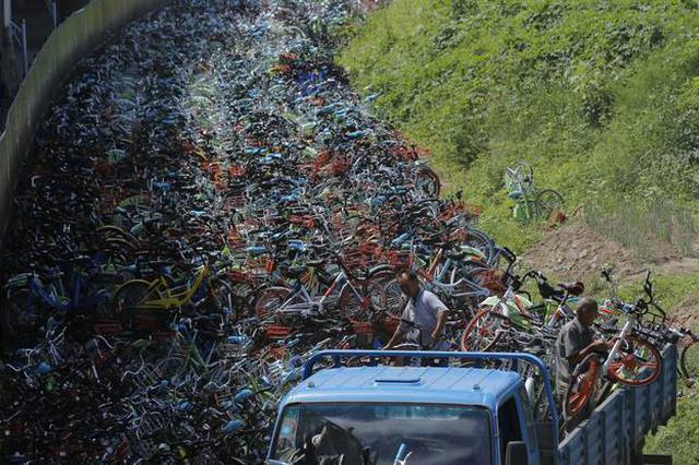 """报废高峰期即将到来 废弃共享单车变""""垃圾山"""""""