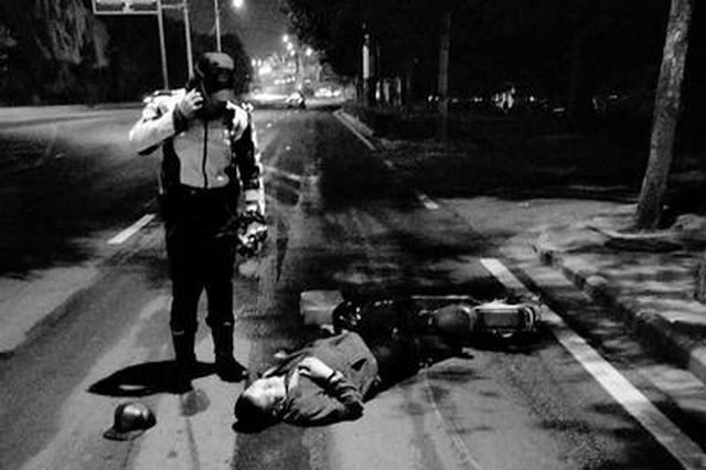 石家庄一男子午夜醉卧机动车道 民警及时发现