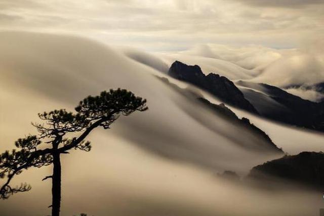 """雨后黄山现罕见""""瀑布流云"""" 宛如水墨画卷"""